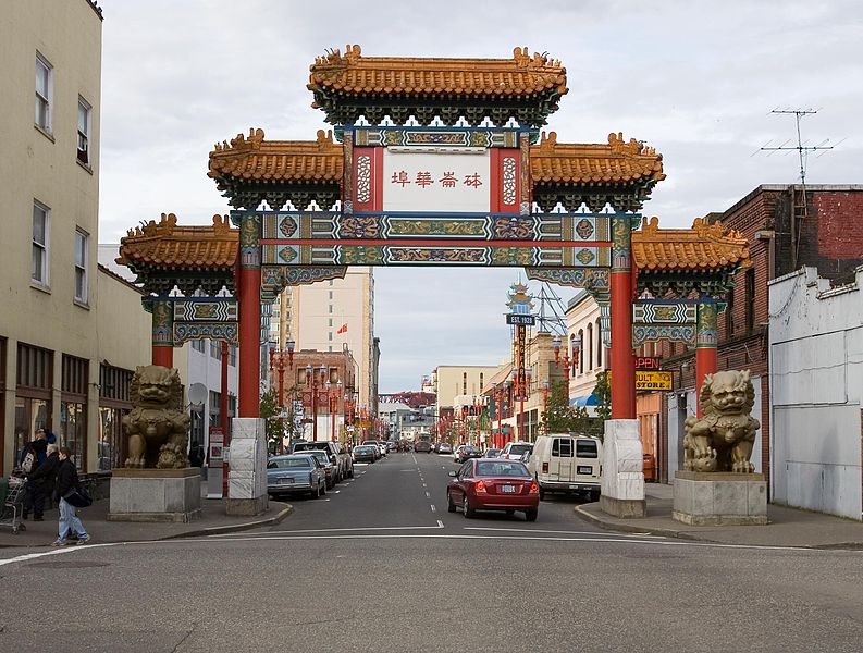 The entrance to Chinatown in downtown Portland, Oregon. The second oldest Chinatown in the United States.