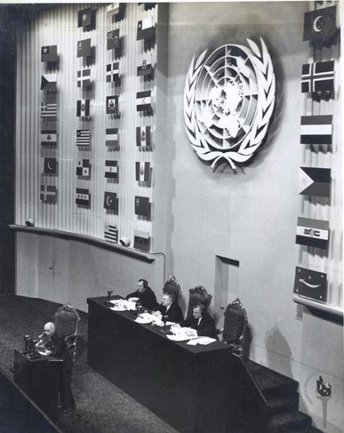 Jawaharlal Nehru à l'Assemblée Générale des Nations Unies, New York, 1948, Nehru Memorial Museum and Library