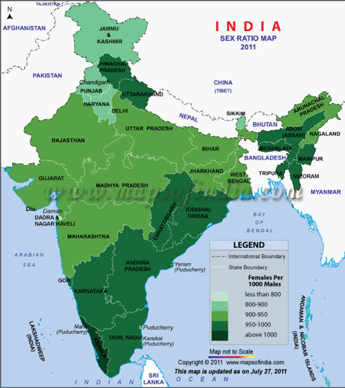 Sex ratio map of India