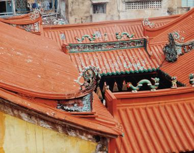 Roof of the Thien Hau Pagoda in Cholon, Ho Chi Minh, Vietnam