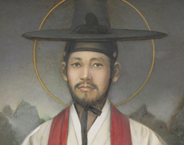 Portrait of Kim Taegǒn adorning the Myǒngdong cathedral in Seoul.