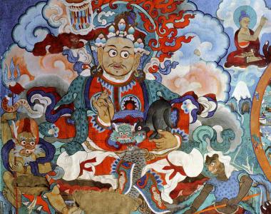 Mural painting in the Hemis gompa in Ladakh, India. Hemis gompa is a Tibetan Buddhist monastery of the Drukpa Lineage, established in 1672 by the Ladakhi king Senge Namgyal.