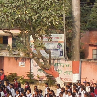 Student assembly before leaving school. Public primary school in a village in Bihar, India.