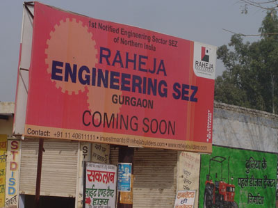 A sign for one of the 26 SEZs coming up in Gurgaon, adjacent to Delhi.
