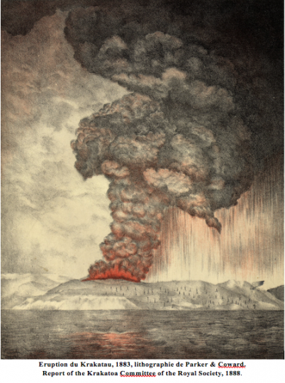 Eruption du Krakatau, 1883, lithographie de Parker & Coward.  Report of the Krakatoa Committee of the Royal Society, 1888.